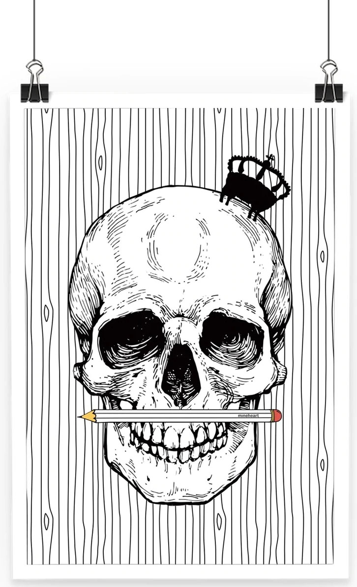Pencil Skull monochrome Poster