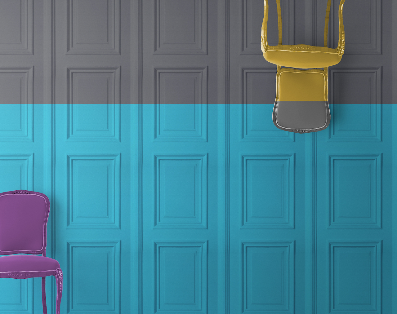 grey and turquoise panel wallpaper