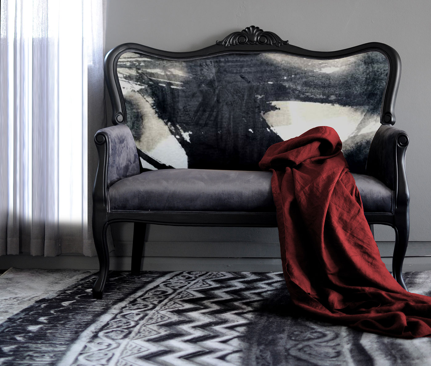 grey-velvet-sofa-with-ink-flow-pattern