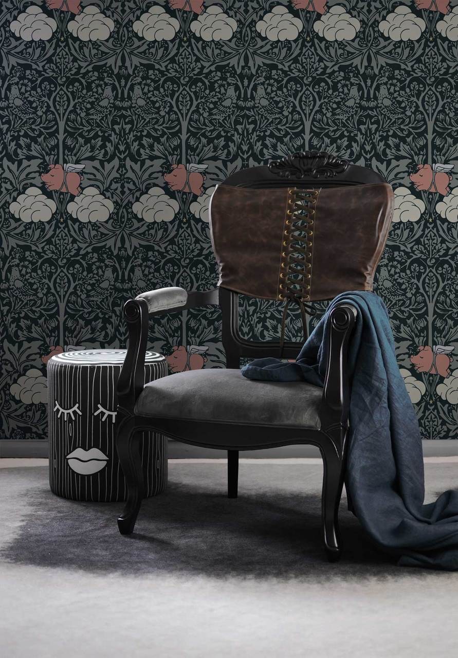 Morris Dream - Classic dark green with colours Wallpaper