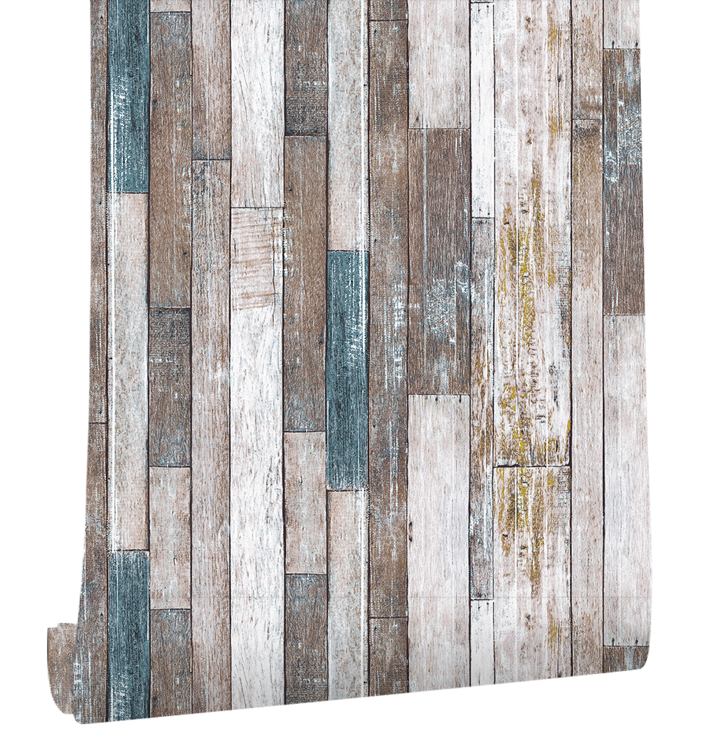 Rustic Wood Effect Panel Wallpaper Grey and Blue