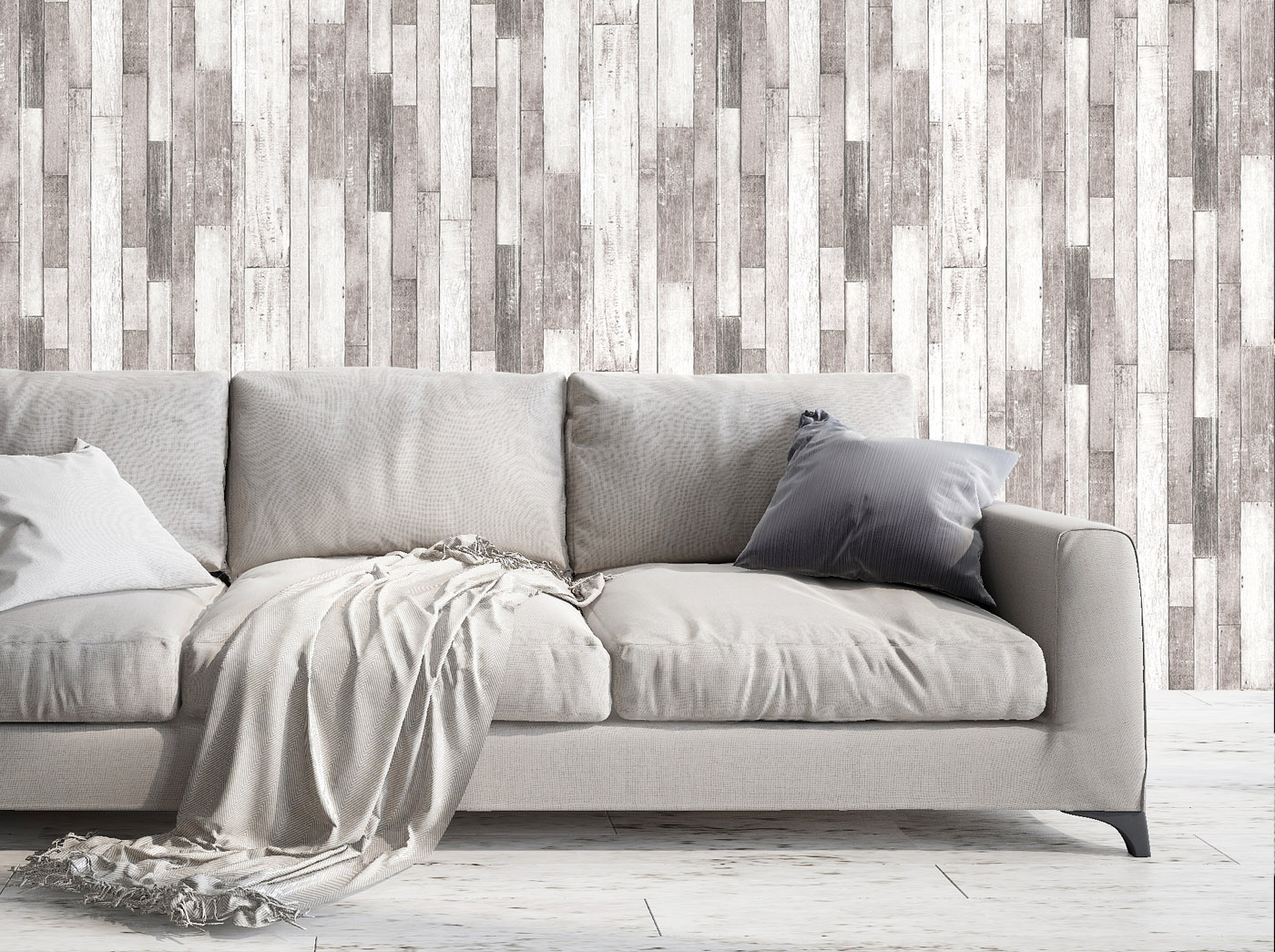 Rustic Wood Effect Panel Wallpaper Grey and White