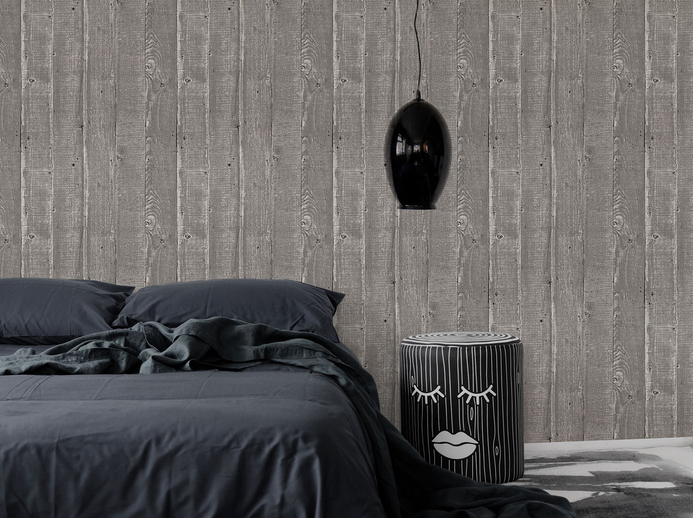 Rustic Wood Effect Panel Wallpaper Washed Grey
