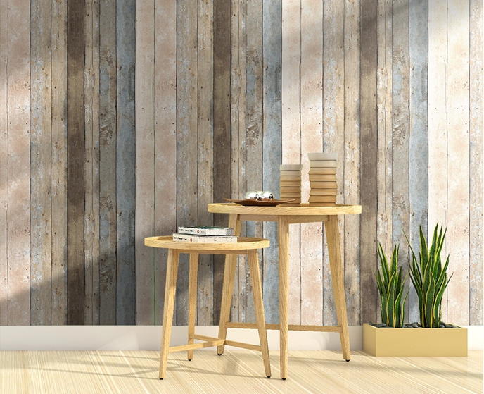 Rustic Wood Effect Panel Wallpaper Beige and Cream