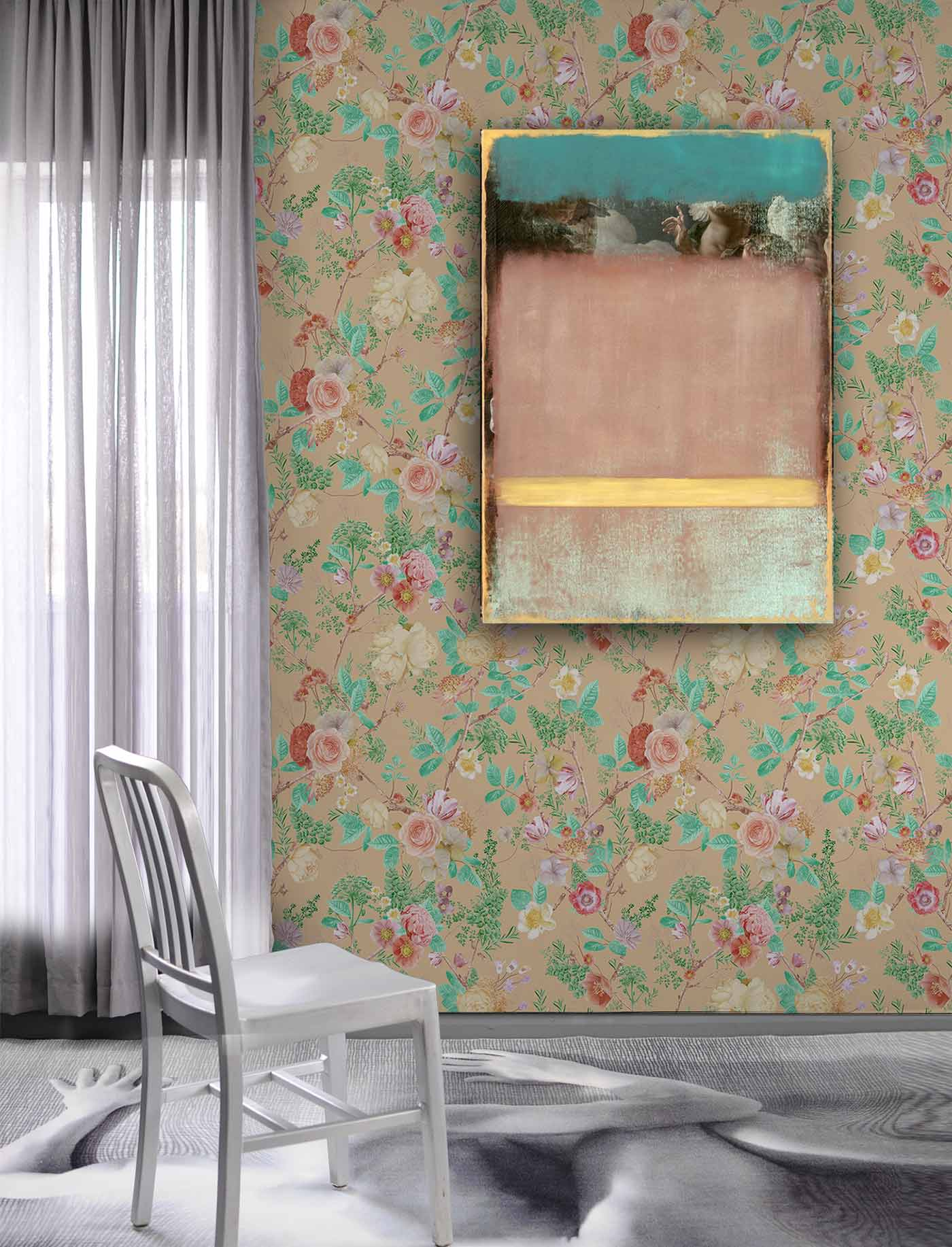 Floral Spring Peach and Orange Wallpaper