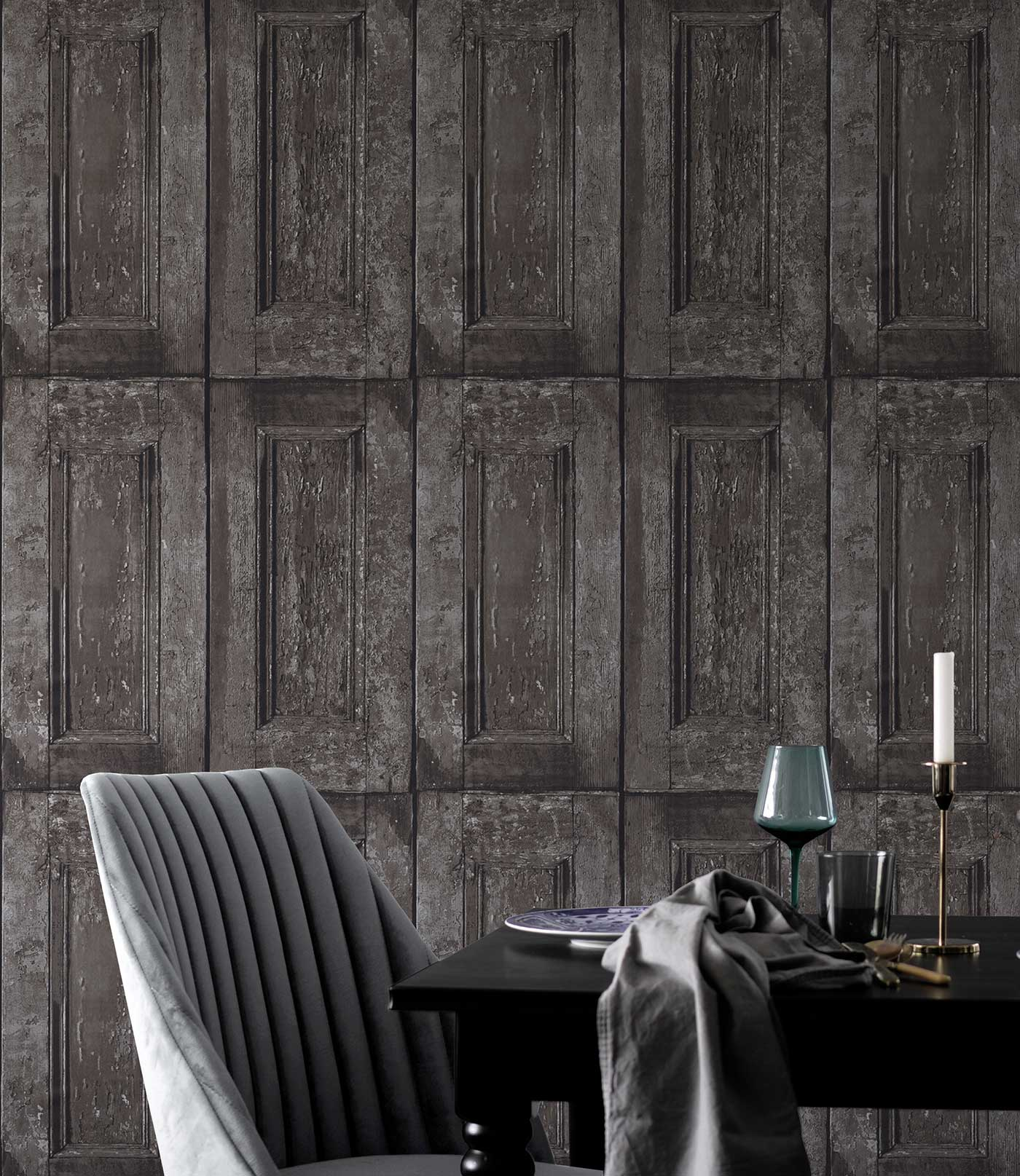 Panelling Wallpaper Grey and Brown Wood Effect